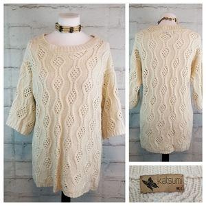Katsumi M/L Beige 1/2 Sleeve Open-Knit Sweater